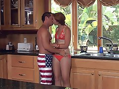 Petite girl sex in kitchen