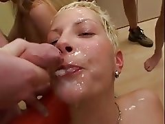 Bukkake orgy with hot blonde