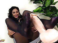 Footjob in black pantyhose by Mistress Alexya
