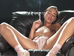 smoking brunette fingering