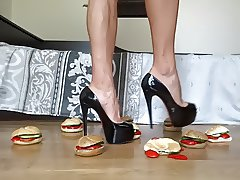 Crushing hamburgers under my high heel pumps