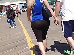 Black leggings on the street sexi