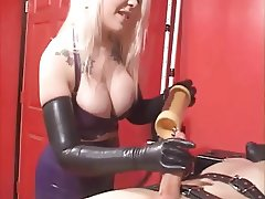 Blonde Latex Goddess milking cock