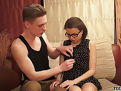 Brunette teen Jalace gets busy