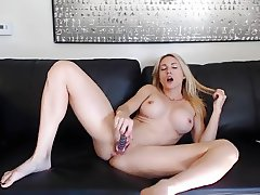 My secretary Andrea strip tease & glass dildo fucking