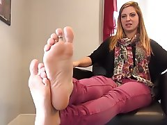 Blond awesome girl show her cute feet