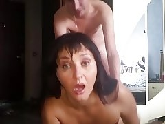 Russian mature mom sucked her boy in bedroom