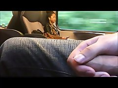 Jerking next to asian girl in train