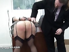 A bad secretary spanked over her desk