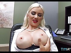 Crazy Blonde Cougar in the Office