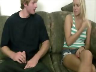 She is surprised but she handles him and his dick well