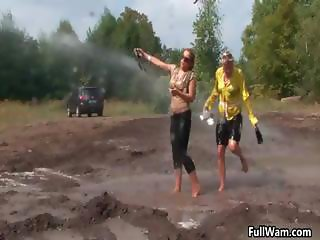 Two wet Euro babes getting part1