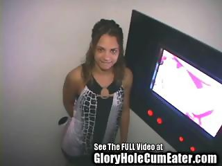 Sexy Petite Latina Deep Throats Strangers In The Gloryhole For Cumshots