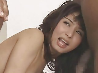 Yuka Osawa and 3 black cocks
