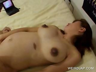 Pregnant asian sucking hairy dick