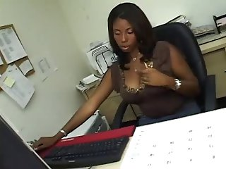 Slammin Ebony Railed in Office