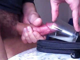 Big cumshot in a cup (thick cum)