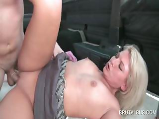 Bitchy blonde gets twat fucked on camera