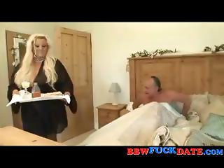 Big blonde BBW in her lingerie serves her boss in bed and gets drilled