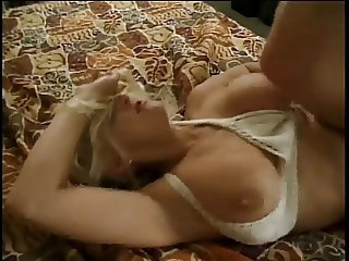 Big tits blonde gets her pussy pounded on the bed