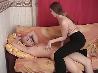 Young Shaved Teen Boy and Girl Masturbates