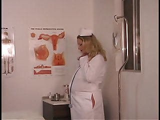 Hot blonde nurse shows her pregnant belly and touches pussy