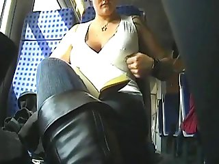 Girl shows her boobs in train