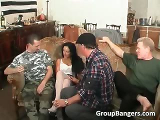 Busty lady getting fucked by two studs part4