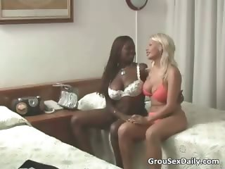 Big breasted ebony chick and her blonde part1