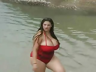 A Hot Bbw Babe With Huge Boobs In The Sea