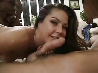 Aspen crying with a black cock in her ass on a gangbang