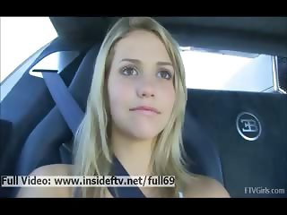 Jessica _ Amateur blonde showing us her tits and pussy in the car