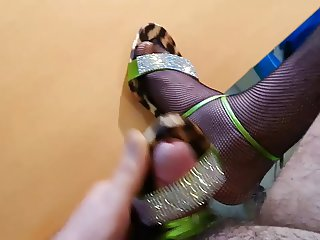 Wearing and cum on my mother high heels sandals with fishnet