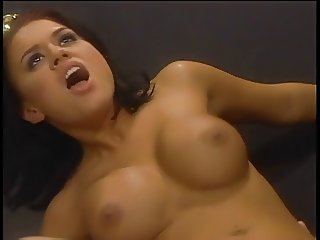 Busty Eva deep throats white stud's cock at office