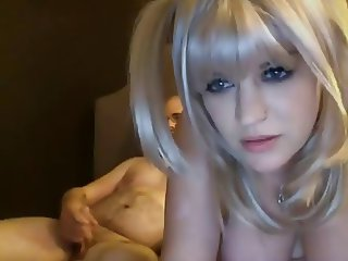 Blonde whore with big tits suck his cock