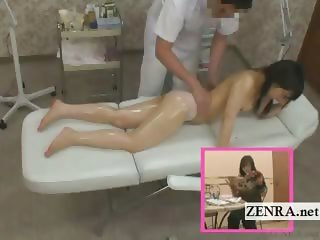 Subtitled Japanese schoolgirl first sensual oil massage