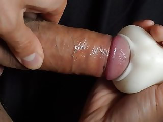 Quck wank with my masturbator and hard cock