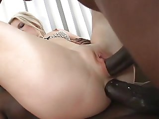 Two black dicks dp fucking slut