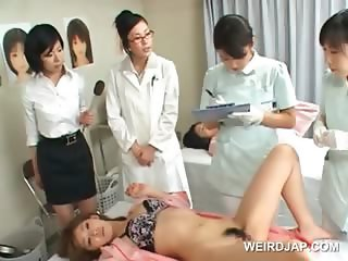 Hot japanese patient gets hairy snatch examined in close-up