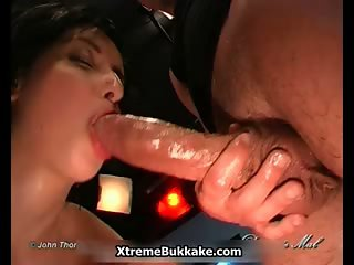 Nasty jizzed slut goes crazy sucking part4
