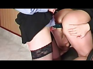 Black skirt strapon fuck