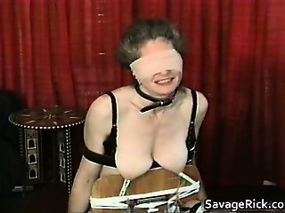 Kinky MILF is sex slave in weird bondage part3