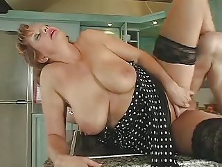 Hot Redhead Russian Milf getting fucked in the kitchen