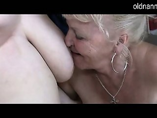 Old lesbian grandma with hairy pussy licking mature pussy