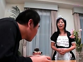 Dirty asian mature maid rubbing snatch for her horny boss