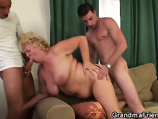 Threesome orgy with drunk granny