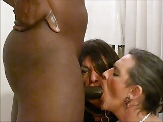 Two slut trannies getting fucked by BBC