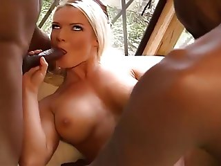 Stunning Blonde Tackles 2 Blacks