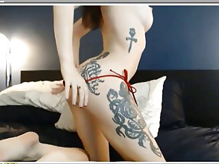 Perfect babe with tattoos fucks herself part 1