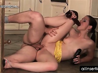 Redhead hottie gets cock and dildo shoved in pussy